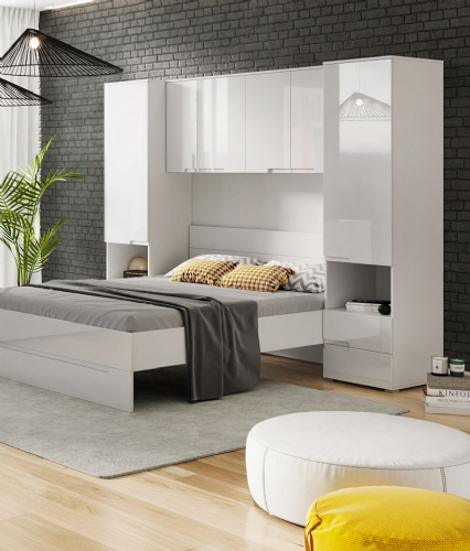 Santino White Gloss Overbed Unit -2899
